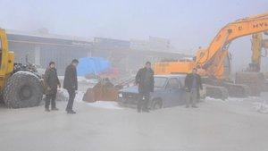 Erzurum'da kanalizasyon patladı, sanayi sitesi buz tuttu