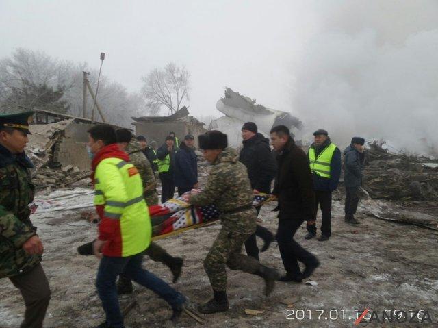Kırgızistan'da düşen Türk kargo uçağından ilk görüntüler
