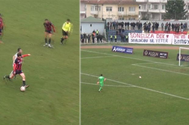 Düzcesporlu Kerem Çağatay 80 metreden gol attı, stat yıkıldı