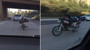 Adana'da trafikte tehlikeli akrobasi!