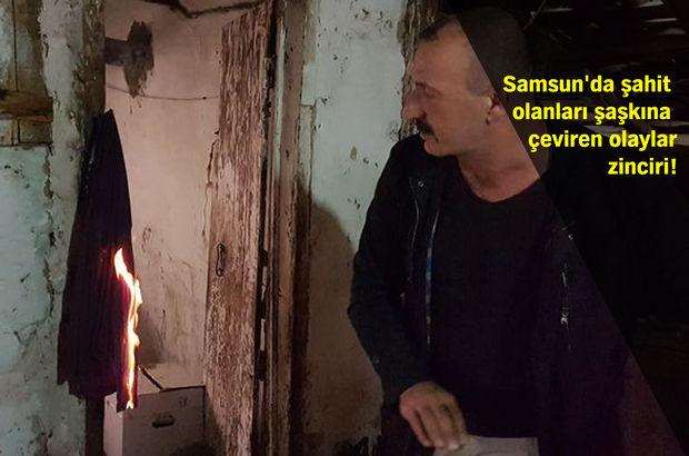 Samsun'da bu evde bir anda yangın çıkıyor