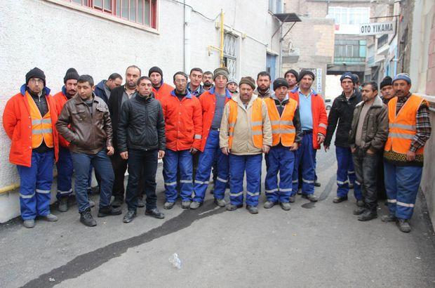 Temizlik işçilerinden maaş eylemi