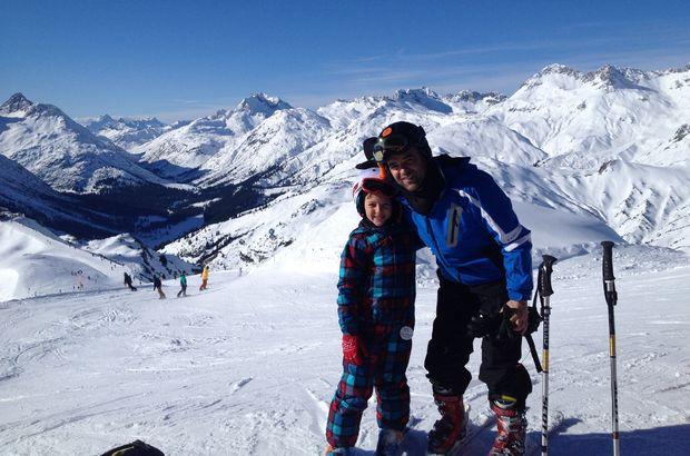 Murat Evgin, ailesiyle birlikte Alpler'de kayak tatili yapmaya gitti