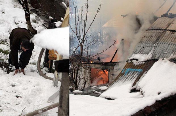 Zonguldak'ta Evinde çıkan yangını kar atarak söndürmeye çalıştı