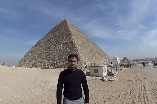 Mısır'da Keops piramidinin zirvesine çıkan Türk öğrenci HABERTÜRK'te