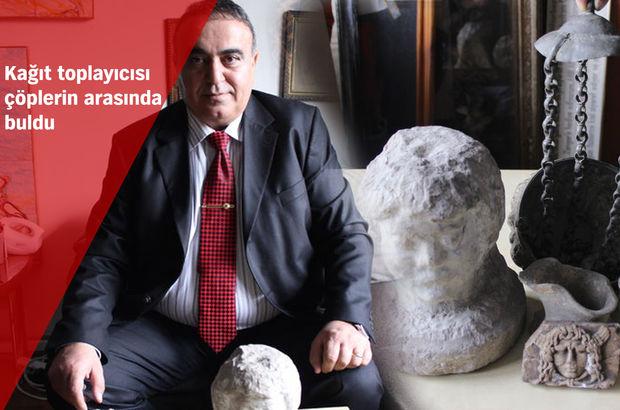 Çöpten çıkan tarihi eserleri müzeye teslim etti