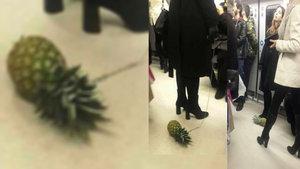 Ankara Metrosu'nda ananas gezdiren kadın sosyal medyanın gündeminde