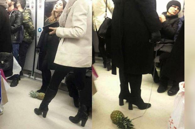 Ankara Metrosu'nda ananas gezdiren kadın sosyal medyayının gündeminde