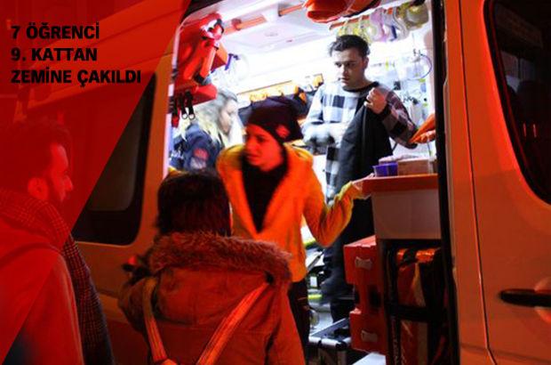 Kocaeli'de bir binada içinde 7 öğrenci olan asansör zemine çakıldı