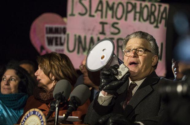 Demokrat vekiller Donald Trump'ın vize yasağını protesto etti
