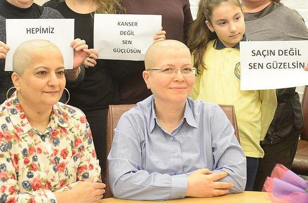 Kanser hastalarına destek için saçlarını kazıttılar!