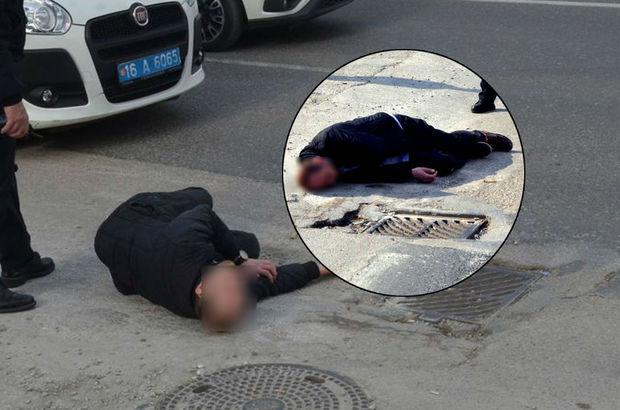Krize girip kara yolunda sızdı, polisleri görünce...