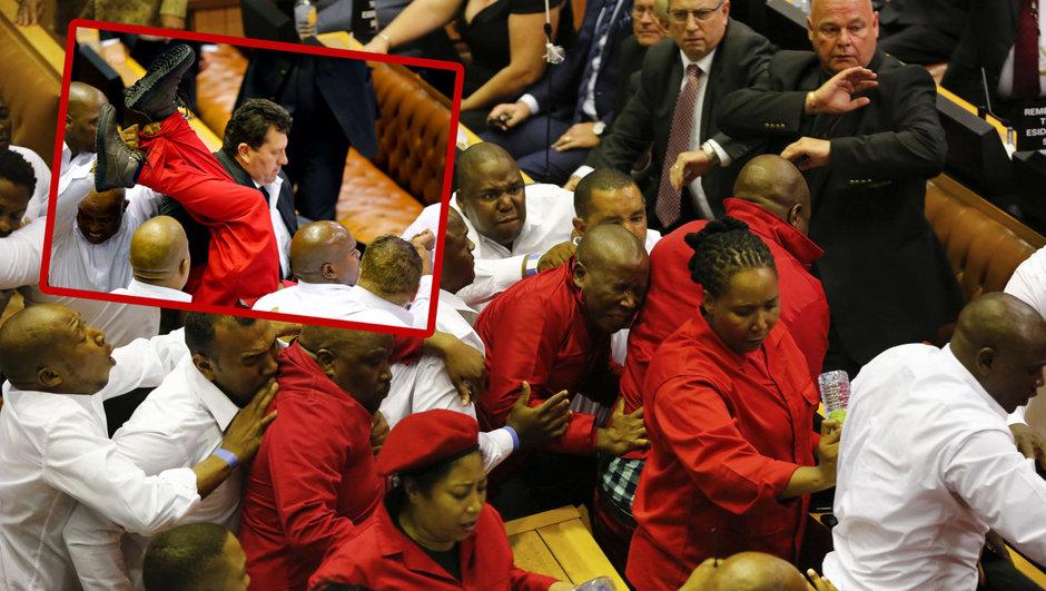 güney afrika parlamento kavga