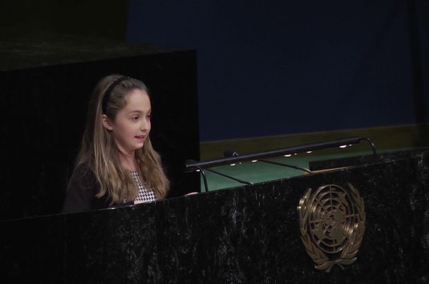 BM'de konuşan Türk kızı Talya alkış yağmuruna tutuldu