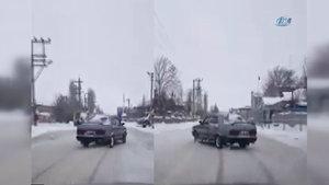 Erzurum'daki trafik canavarı görenleri pes dedirtti