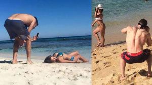 Sevgililerinin fotoğraflarını çeken erkeklerin girdiği zor durumlar!