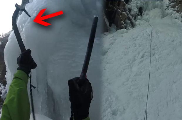 Donan şelaleye tırmanmak istedi! Ölümden döndü