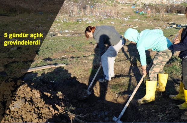Bartın'da açlık grevine başlayan 3 kişi, kendilerine mezar kazdı