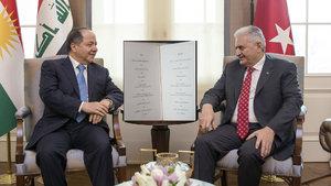 Başbakan Yıldırım ile Barzani'nin görüşmesi sona erdi