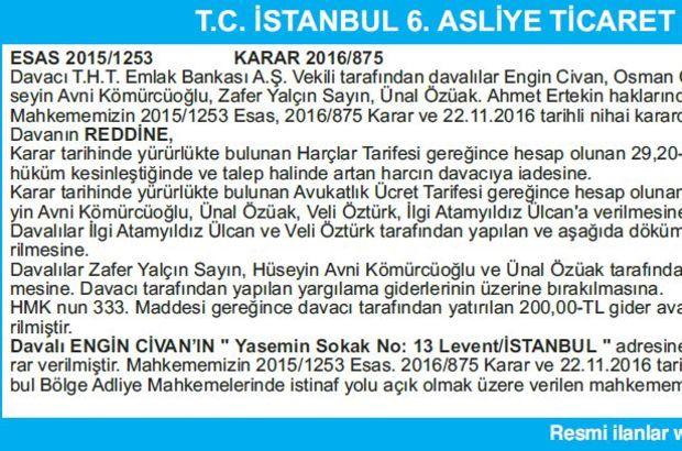 T.C.İSTANBUL 6.ASLİYE TİCARET MAHKEMESİ BAŞKANLIĞINDAN İLAN