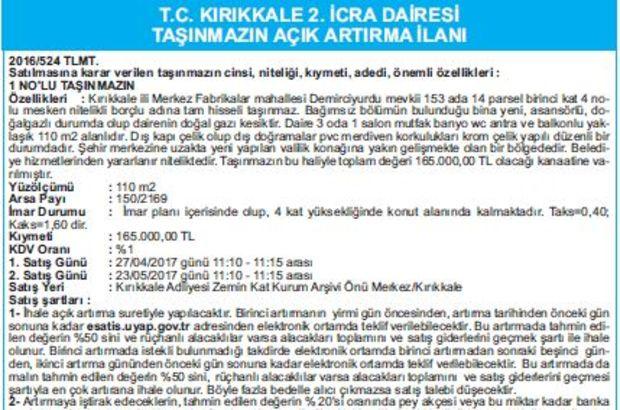 T.C. KIRIKKALE 2. İCRA DAİRESİ TAŞINMAZIN AÇIK ARTIRMA İLANI