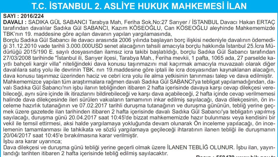 T.C. İSTANBUL 2. ASLİYE HUKUK MAHKEMESİ İLAN