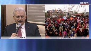 Başbakan telekonferansla Bartın'da miting için toplananlara seslendi