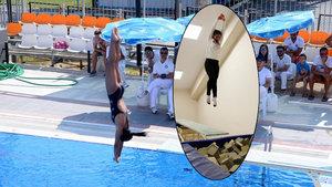 Afyonkarahisarlı sporcu antrenmanlarını sünger dolu havuzda yapıyor