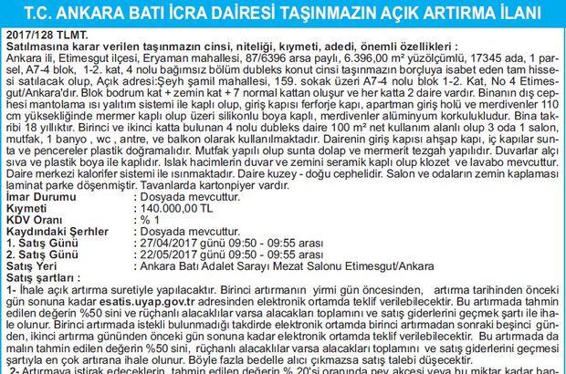 T.C. ANKARA BATI İCRA DAİRESİ TAŞINMAZIN AÇIK ARTIRMA İLANI
