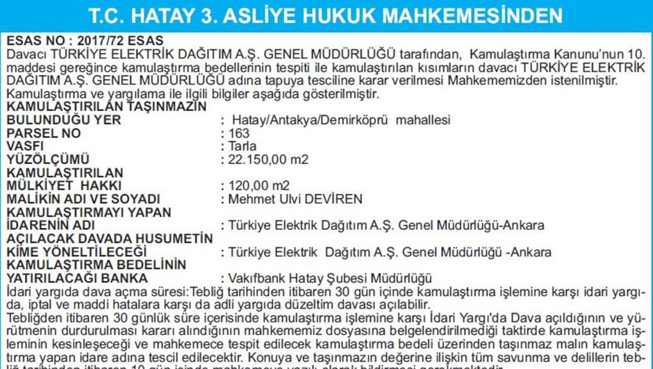 T.C. HATAY 3. ASLİYE HUKUK MAHKEMESİNDEN