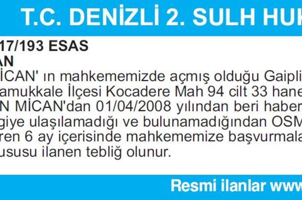 T.C. DENİZLİ 2. SULH HUKUK MAHKEMESİ İLAN