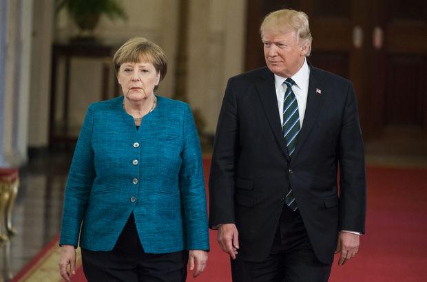Trump, Merkel'i kameralar önünde bozdu! İşte o anlar...