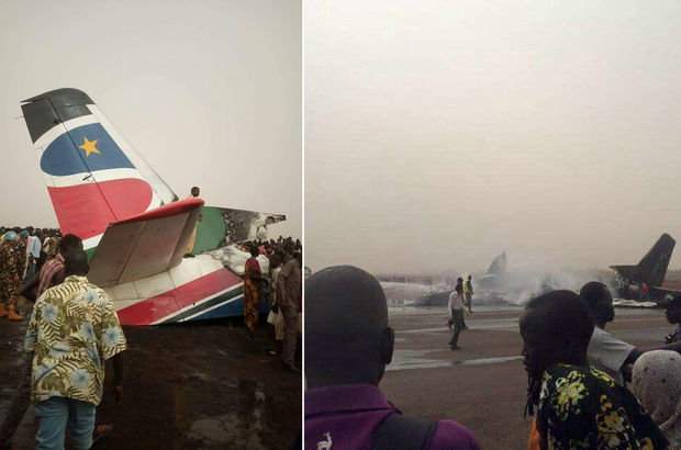 44 kişiyi taşıyan uçak Güney Sudan'da düştü!