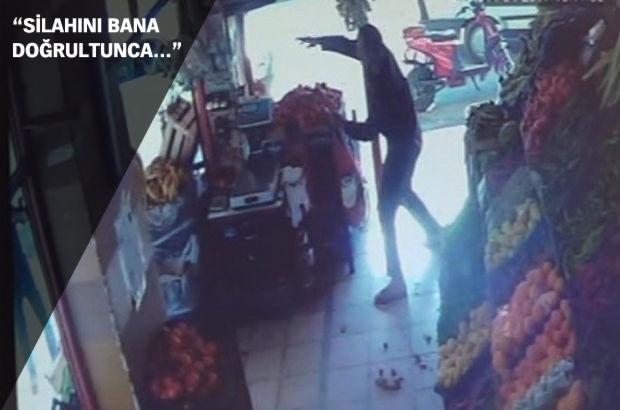 Pompalı tüfekle saldırıya uğrayan manav, kendini domatesle korudu