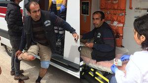 Adana'da kazada yaralanan kişi yola saçılan peynirlerini topladı