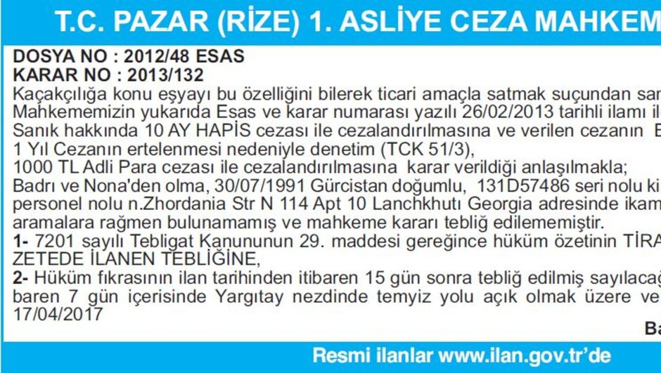 T.C. PAZAR (RİZE) 1. ASLİYE CEZA MAHKEMESİNDEN İLAN