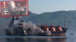 SON DAKİKA! Kocaeli Körfezi'nde LPG yüklü tankerde yangın
