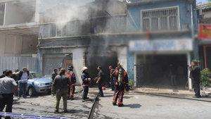 Dolapdere'de otomobil tamirhanesinde patlama