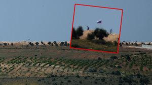 Sınır ötesindeki Rus ve Suriye bayrağına silahlı koruma!