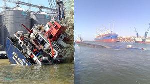 Bandırma'da kargo gemisi yan yattı!
