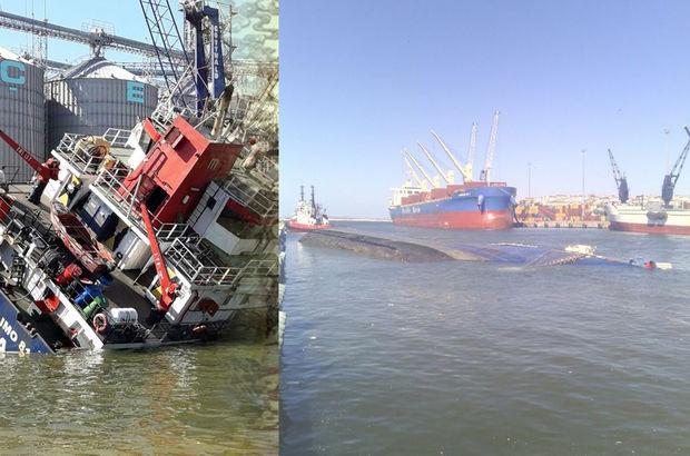 Bandırma'da kargo gemisi yan yattı! Yaralılar var