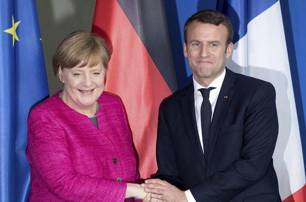 Macron ile Merkel  görüştü