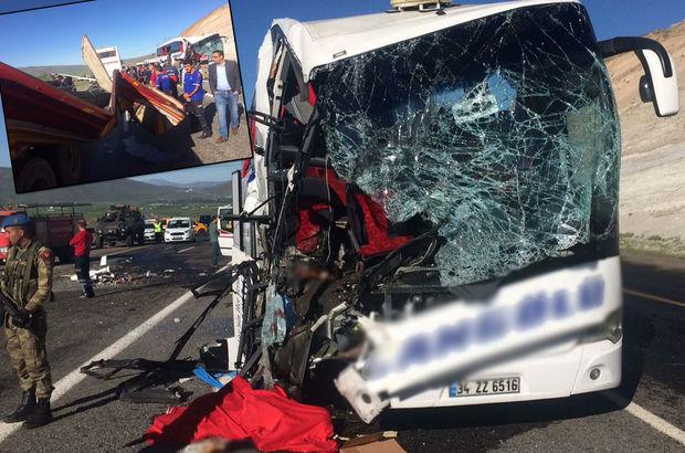 Yolcu otobüsü tıra çarptı! 1 ölü 20 yaralı!