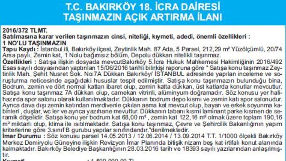 T.C. BAKIRKÖY 18. İCRA DAİRESİ TAŞINMAZIN AÇIK ARTIRMA İLANI