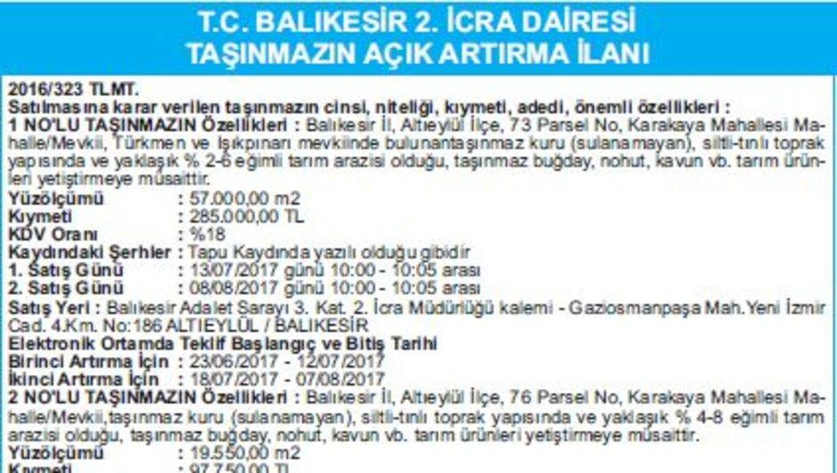 T.C. BALIKESİR 2. İCRA DAİRESİ TAŞINMAZIN AÇIK ARTIRMA İLANI
