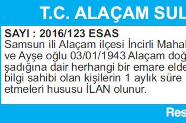 T.C. ALAÇAM SULH HUKUK MAHKEMESİNDEN İLAN