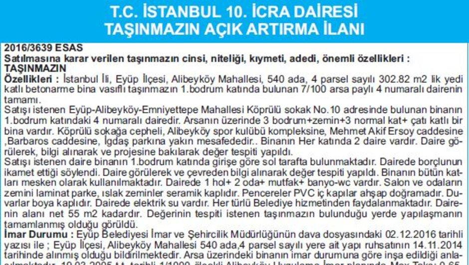 T.C. İSTANBUL 10. İCRA DAİRESİ TAŞINMAZIN AÇIK ARTIRMA İLANI