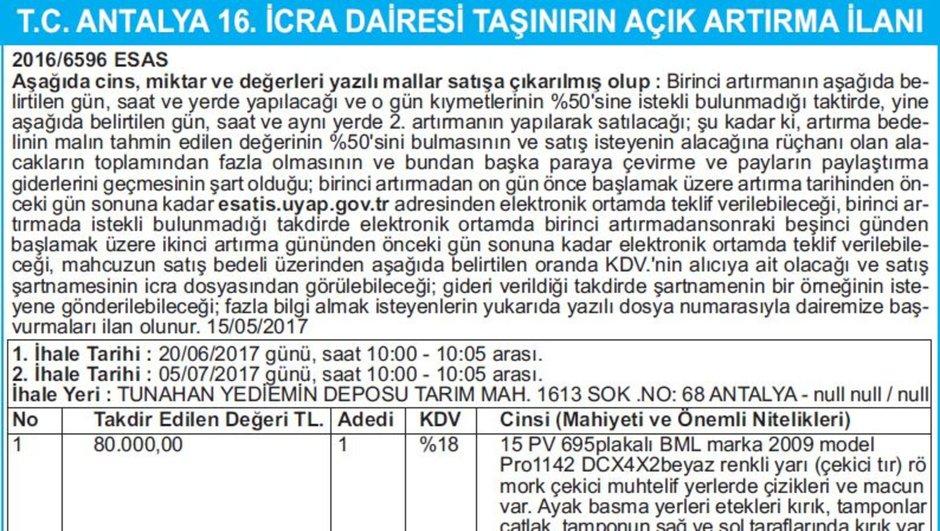 T.C. ANTALYA 16. İCRA DAİRESİ TAŞINIRIN AÇIK ARTIRMA İLANI