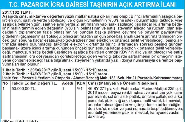 T.C. PAZARCIK İCRA DAİRESİ TAŞINIRIN AÇIK ARTIRMA İLANI