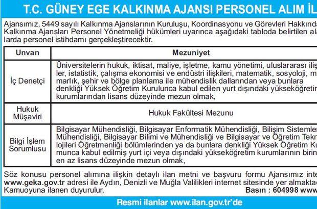 T.C. GÜNEY EGE KALKINMA AJANSI PERSONEL ALIM İLANI